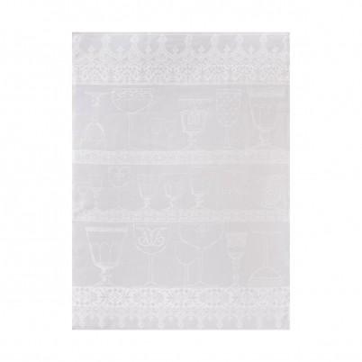 Cristal, glasdoek 80x60cm Blanc-White, 100% linnen