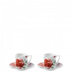 Set 2 espressokop & schotels, Jasper Conran Floral