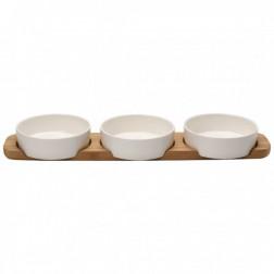 Toppingschaaltjes op houten tray 50x13,5cm, Pizza Passion